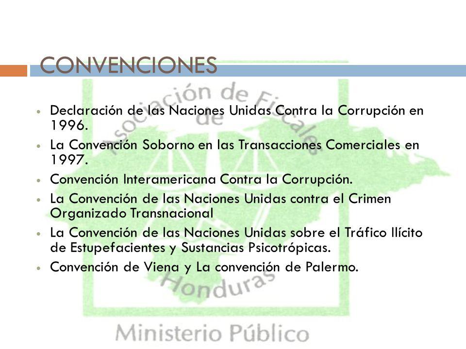 CONVENCIONES Declaración de las Naciones Unidas Contra la Corrupción en 1996. La Convención Soborno en las Transacciones Comerciales en 1997. Convenci