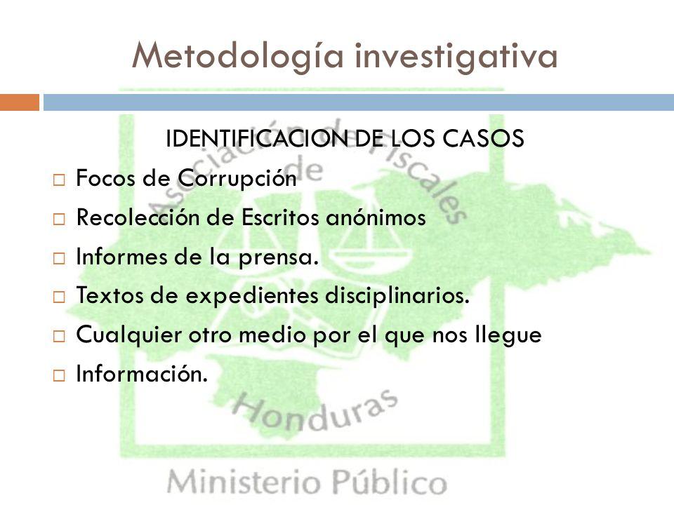 Metodología investigativa IDENTIFICACION DE LOS CASOS Focos de Corrupción Recolección de Escritos anónimos Informes de la prensa. Textos de expediente