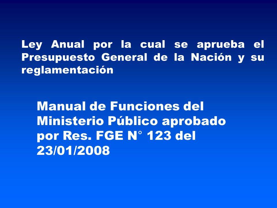 Ley Anual por la cual se aprueba el Presupuesto General de la Nación y su reglamentación Manual de Funciones del Ministerio Público aprobado por Res.