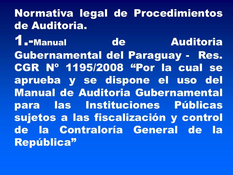Normativa legal de Procedimientos de Auditoria.