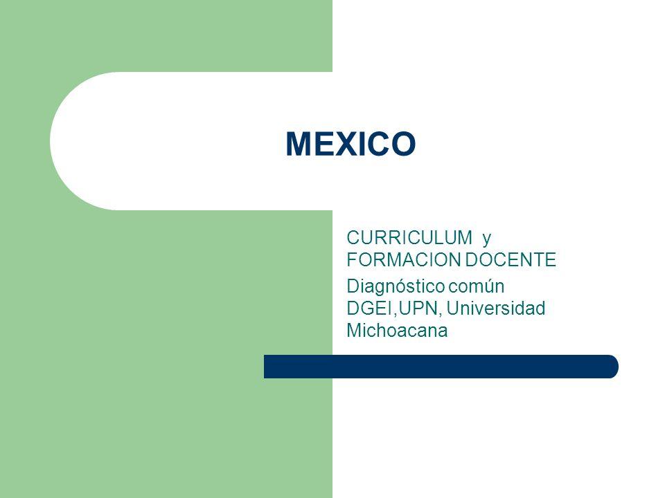 MEXICO CURRICULUM y FORMACION DOCENTE Diagnóstico común DGEI,UPN, Universidad Michoacana