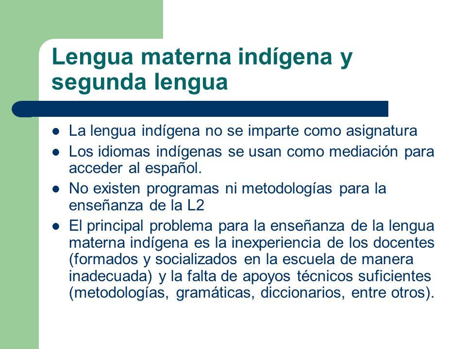Lengua materna indígena y segunda lengua La lengua indígena no se imparte como asignatura Los idiomas indígenas se usan como mediación para acceder al