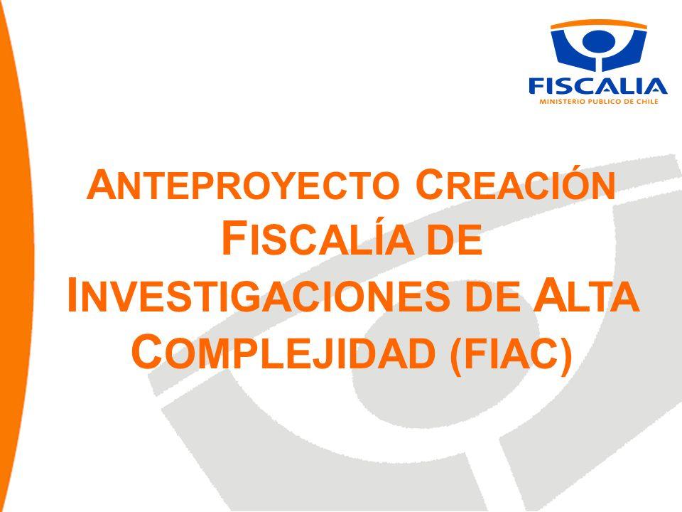 A NTEPROYECTO C REACIÓN F ISCALÍA DE I NVESTIGACIONES DE A LTA C OMPLEJIDAD (FIAC)