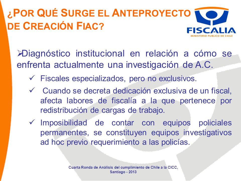 Diagnóstico institucional en relación a cómo se enfrenta actualmente una investigación de A.C.