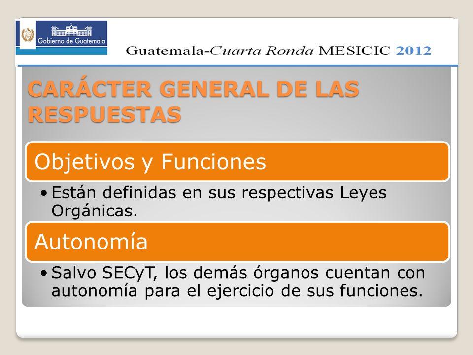 CARÁCTER GENERAL DE LAS RESPUESTAS Objetivos y Funciones Están definidas en sus respectivas Leyes Orgánicas. Autonomía Salvo SECyT, los demás órganos