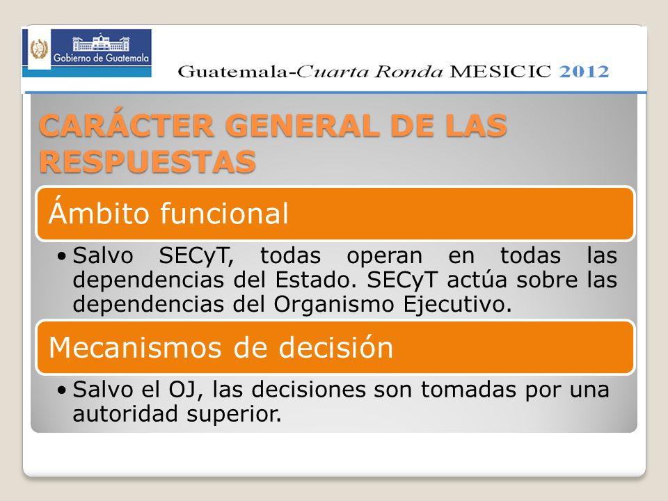 CARÁCTER GENERAL DE LAS RESPUESTAS Ámbito funcional Salvo SECyT, todas operan en todas las dependencias del Estado. SECyT actúa sobre las dependencias