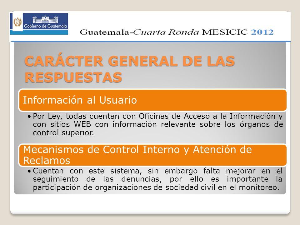 CARÁCTER GENERAL DE LAS RESPUESTAS Información al Usuario Por Ley, todas cuentan con Oficinas de Acceso a la Información y con sitios WEB con informac