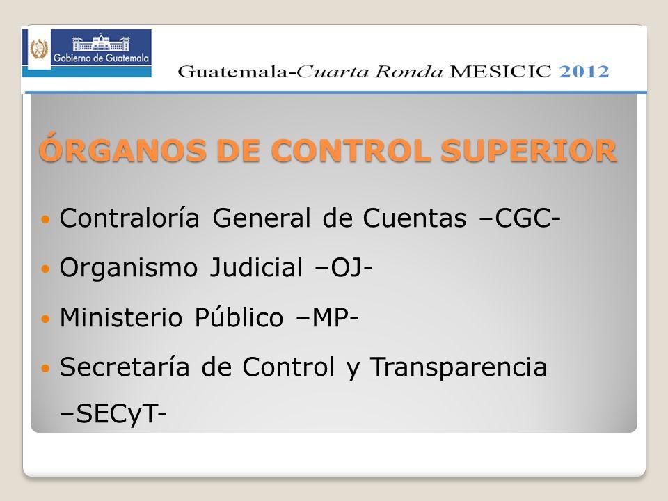 ÓRGANOS DE CONTROL SUPERIOR Contraloría General de Cuentas –CGC- Organismo Judicial –OJ- Ministerio Público –MP- Secretaría de Control y Transparencia