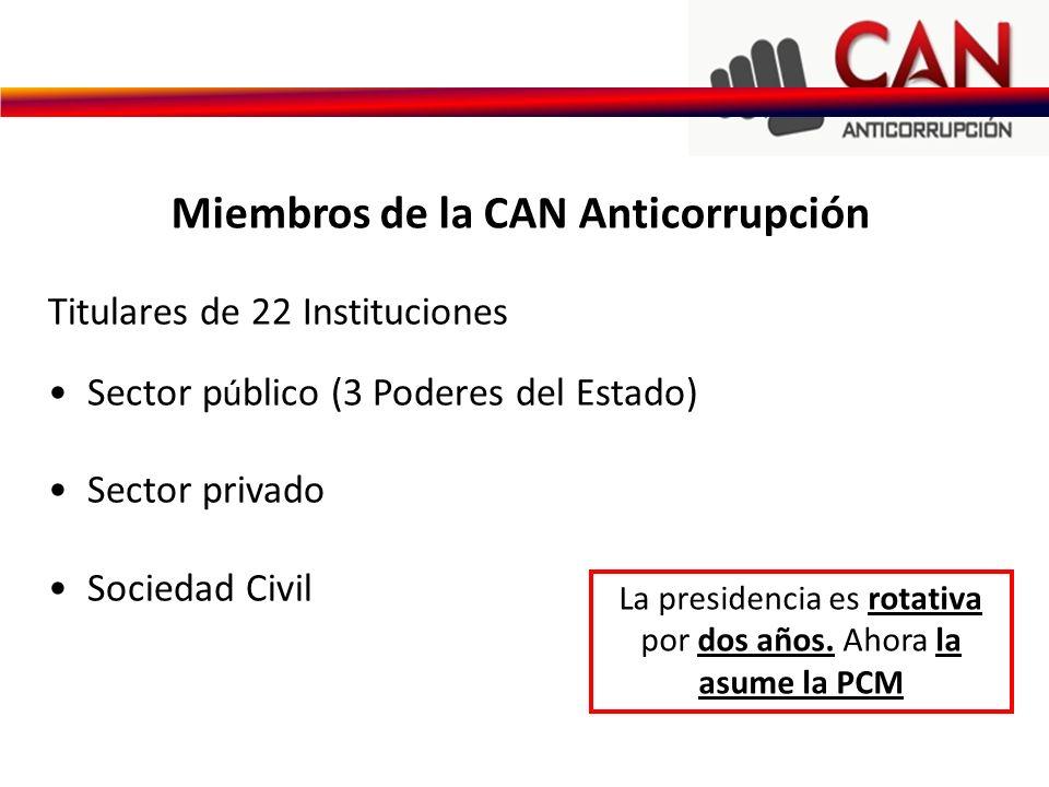 La presidencia es rotativa por dos años. Ahora la asume la PCM Titulares de 22 Instituciones Sector p ú blico (3 Poderes del Estado) Sector privado So