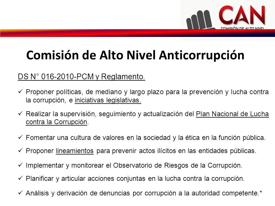 DS N° 016-2010-PCM y Reglamento. Proponer políticas, de mediano y largo plazo para la prevención y lucha contra la corrupción, e iniciativas legislati