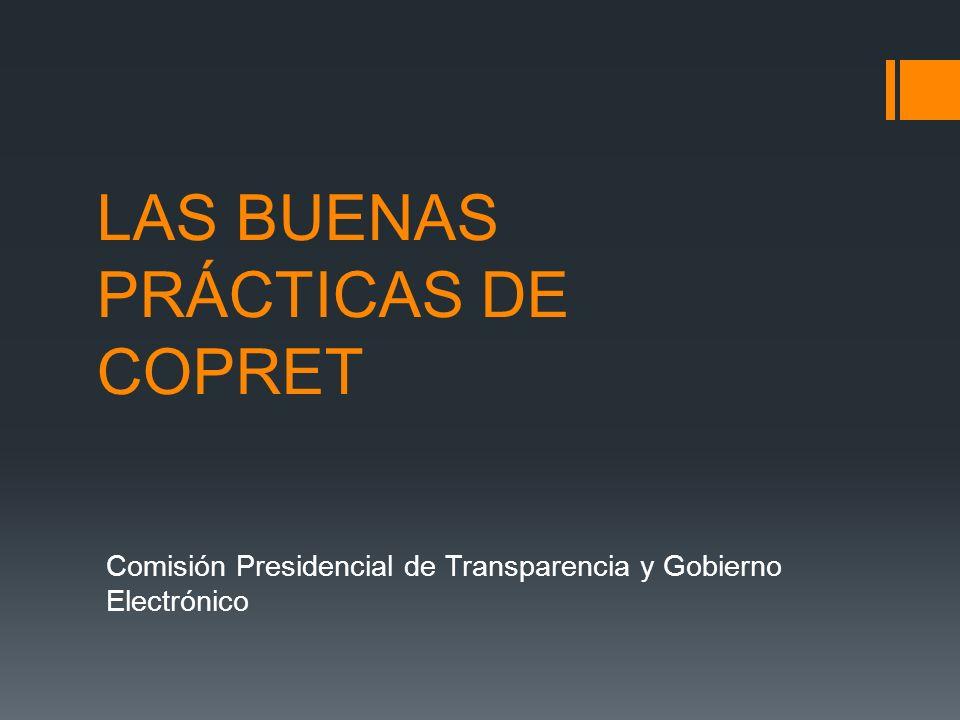 Objetivos de COPRET Según el Acuerdo 360-2013, El objetivo de la Creación de la Comisión Presidencial de Transparencia es el darle cumplimiento a las Convenciones Internacionales de Transparencia y Lucha contra la Corrupción, y así como promover el Gobierno Abierto y el Gobierno Electrónico.