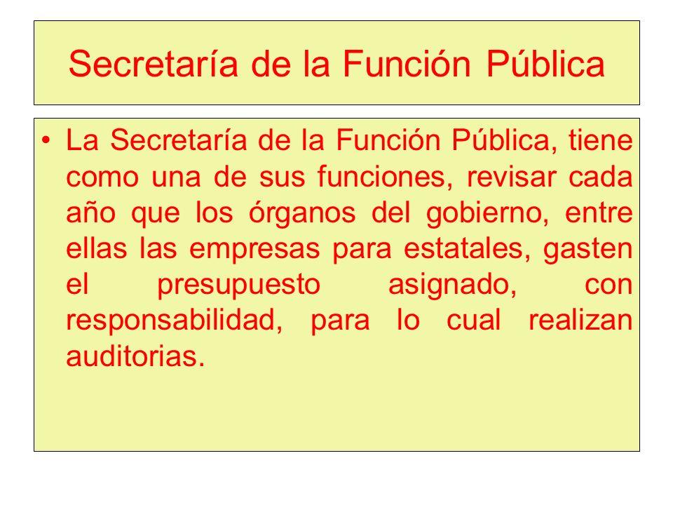 Secretaría de la Función Pública La Secretaría de la Función Pública, tiene como una de sus funciones, revisar cada año que los órganos del gobierno, entre ellas las empresas para estatales, gasten el presupuesto asignado, con responsabilidad, para lo cual realizan auditorias.