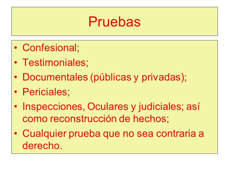 Pruebas Confesional; Testimoniales; Documentales (públicas y privadas); Periciales; Inspecciones, Oculares y judiciales; así como reconstrucción de hechos; Cualquier prueba que no sea contraria a derecho.
