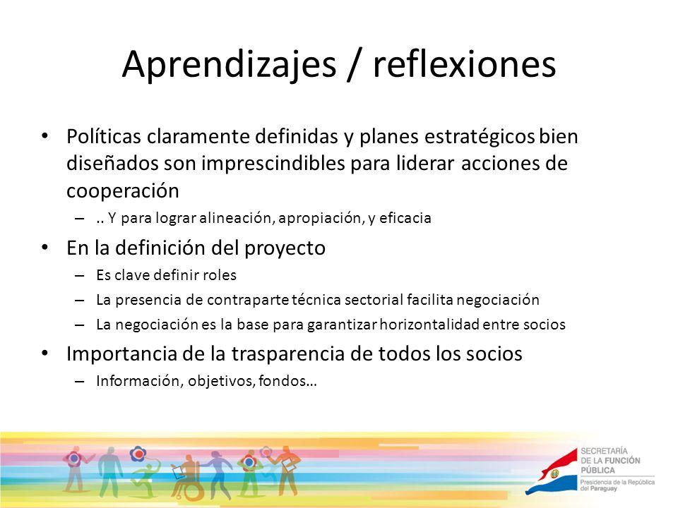 Aprendizajes / reflexiones Políticas claramente definidas y planes estratégicos bien diseñados son imprescindibles para liderar acciones de cooperación –..