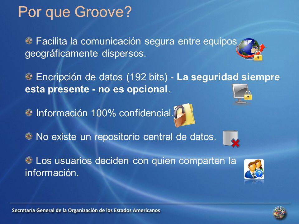 Por que Groove. Facilita la comunicación segura entre equipos geográficamente dispersos.