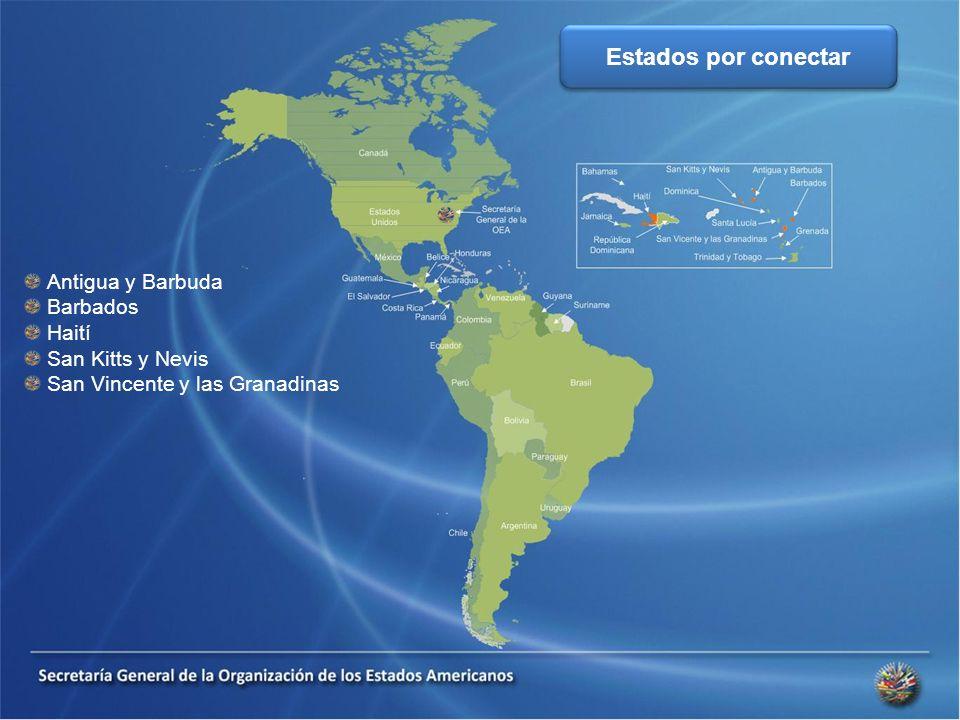 Antigua y Barbuda Barbados Haití San Kitts y Nevis San Vincente y las Granadinas Estados por conectar