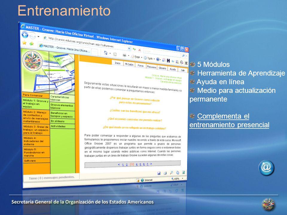Entrenamiento 5 Módulos Herramienta de Aprendizaje Ayuda en línea Medio para actualización permanente Complementa el entrenamiento presencial