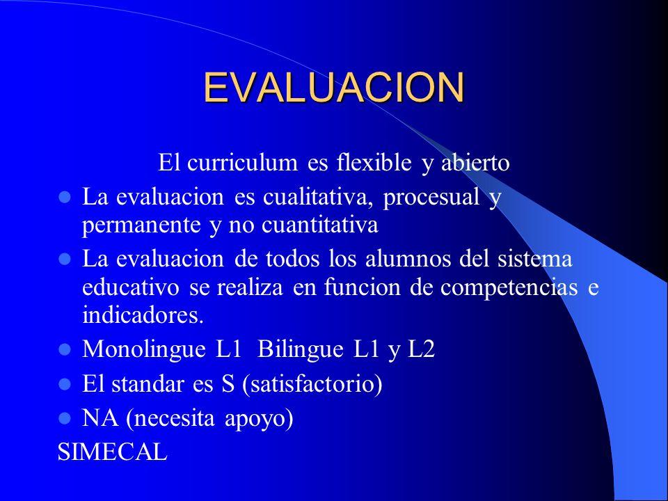 EVALUACION El curriculum es flexible y abierto La evaluacion es cualitativa, procesual y permanente y no cuantitativa La evaluacion de todos los alumn