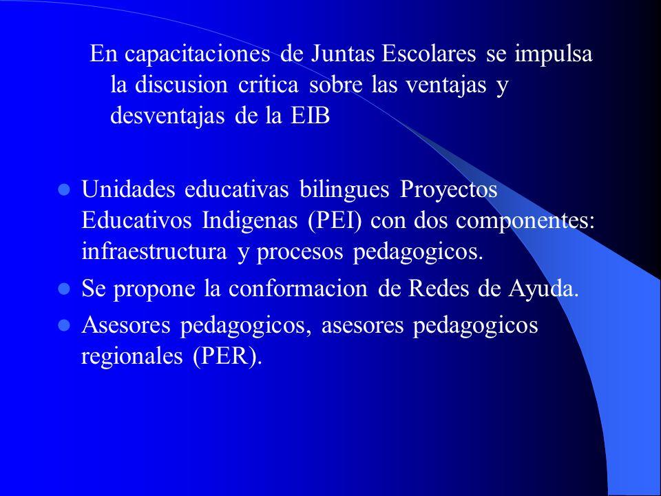 En capacitaciones de Juntas Escolares se impulsa la discusion critica sobre las ventajas y desventajas de la EIB Unidades educativas bilingues Proyect