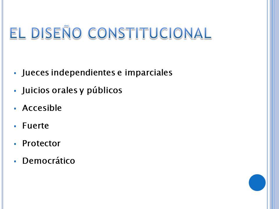 Jueces independientes e imparciales Juicios orales y públicos Accesible Fuerte Protector Democrático