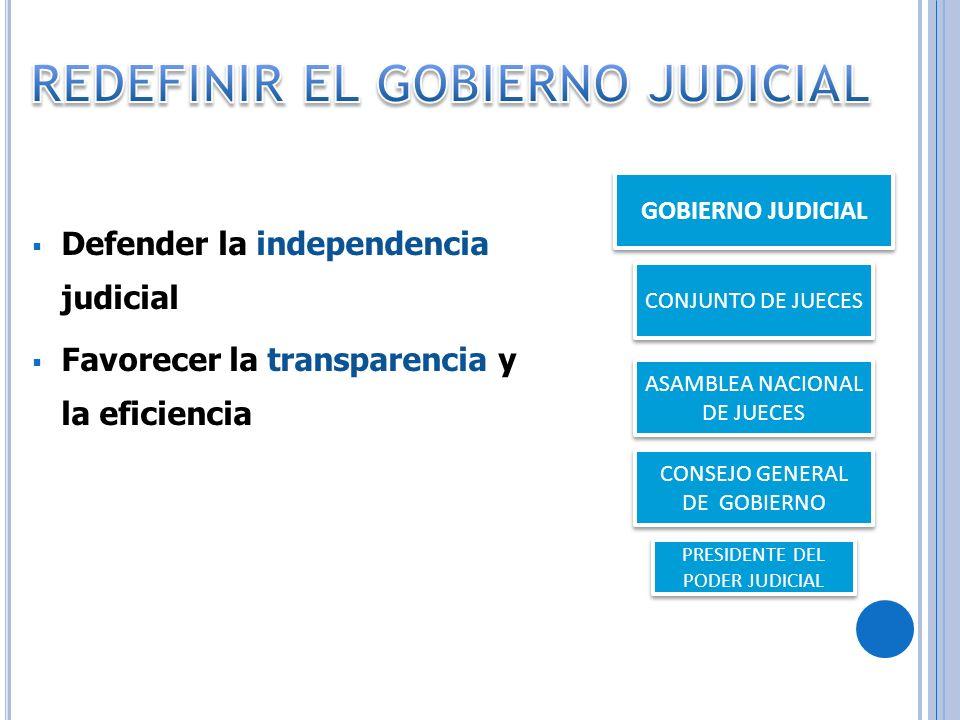Defender la independencia judicial Favorecer la transparencia y la eficiencia GOBIERNO JUDICIAL CONJUNTO DE JUECES ASAMBLEA NACIONAL DE JUECES CONSEJO