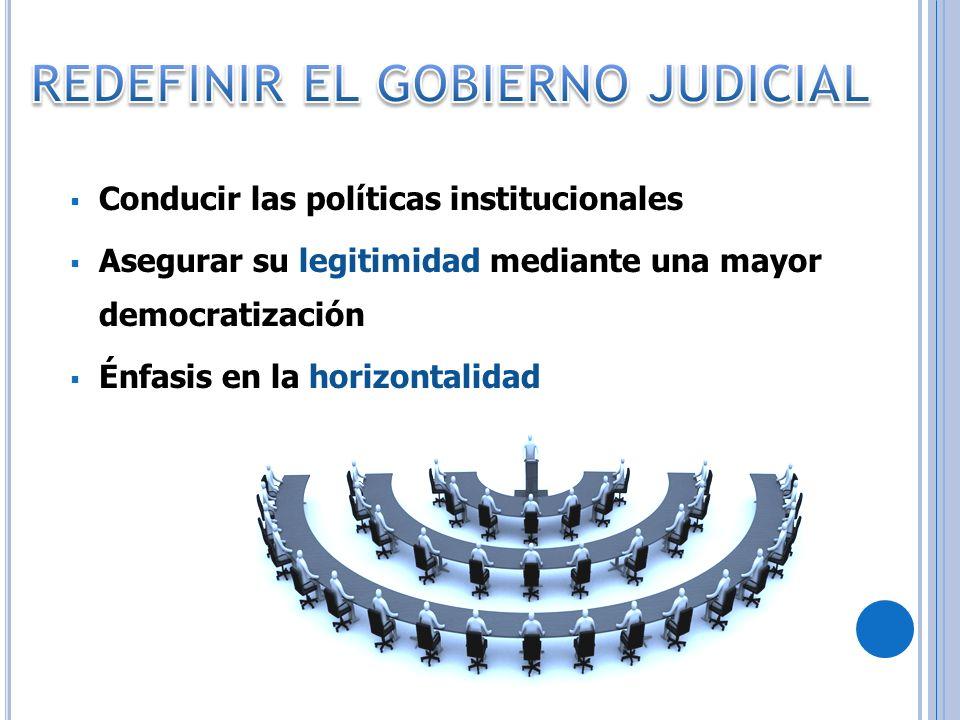 Conducir las políticas institucionales Asegurar su legitimidad mediante una mayor democratización Énfasis en la horizontalidad