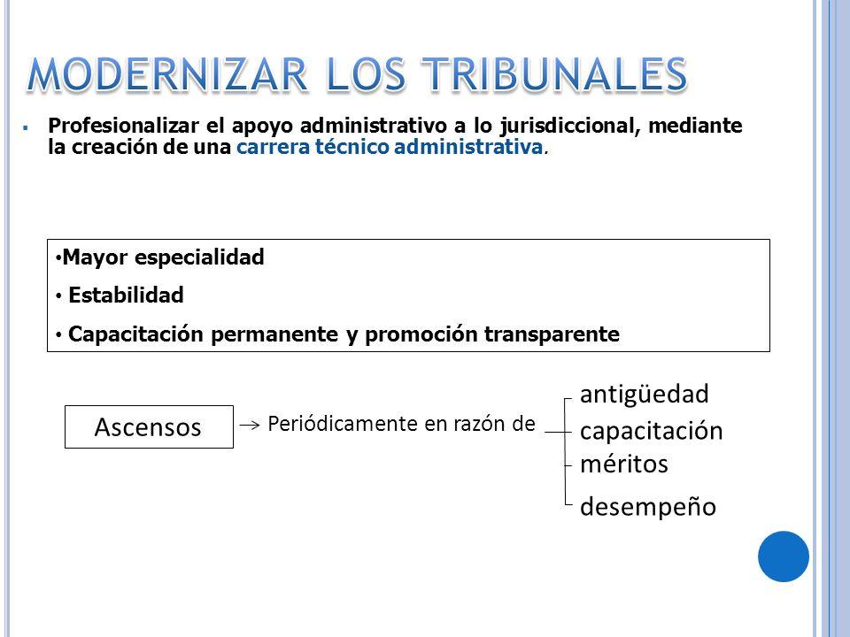 Profesionalizar el apoyo administrativo a lo jurisdiccional, mediante la creación de una carrera técnico administrativa. Mayor especialidad Estabilida