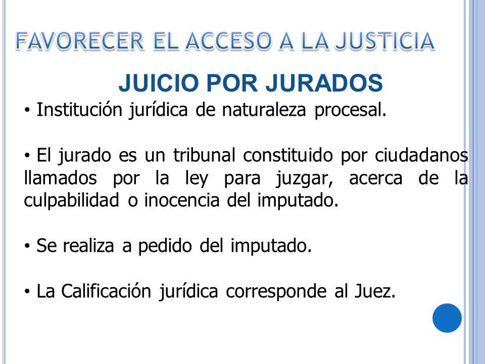 Institución jurídica de naturaleza procesal. El jurado es un tribunal constituido por ciudadanos llamados por la ley para juzgar, acerca de la culpabi