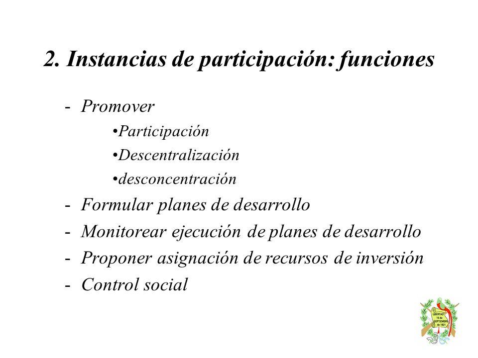 2. Instancias de participación: funciones - Promover Participación Descentralización desconcentración - Formular planes de desarrollo - Monitorear eje