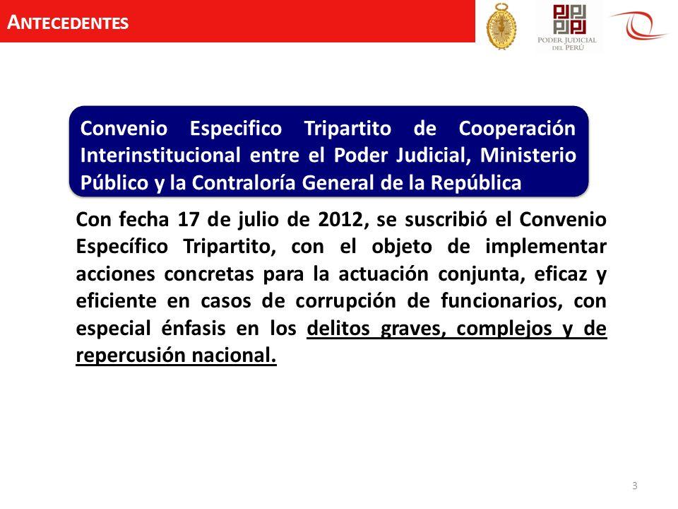 A NTECEDENTES 3 Con fecha 17 de julio de 2012, se suscribió el Convenio Específico Tripartito, con el objeto de implementar acciones concretas para la