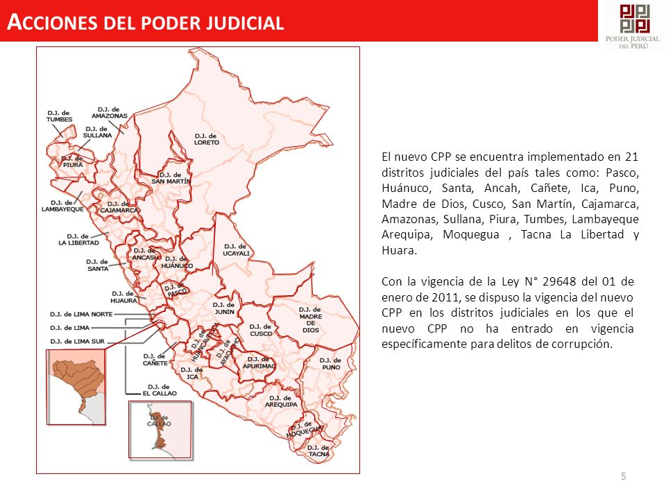 A CCIONES DEL PODER JUDICIAL 5 El nuevo CPP se encuentra implementado en 21 distritos judiciales del país tales como: Pasco, Huánuco, Santa, Ancah, Ca