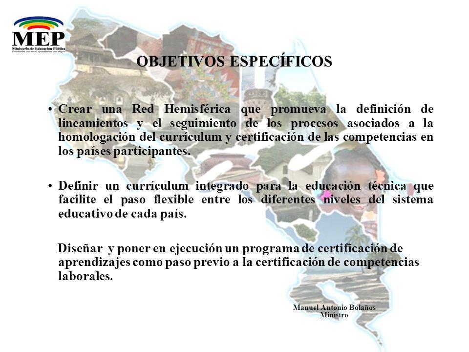 REPÚBLICA DE COSTA RICA MINISTERIO DE EDUCACIÓN PÚBLICA Manuel Antonio Bolaños Ministro