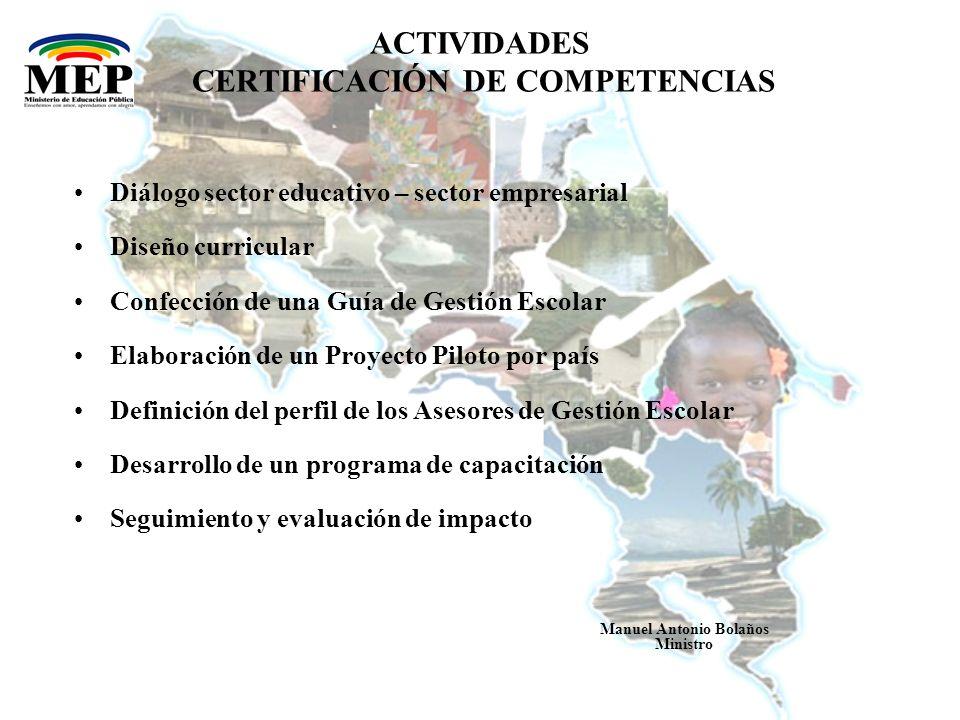 ACTIVIDADES CERTIFICACIÓN DE COMPETENCIAS Acreditación de Centros de Evaluación Normalización del proceso de evaluación y diseño de pruebas estandarizadas Aplicación de las evaluaciones Certificación de las competencias Manuel Antonio Bolaños Ministro