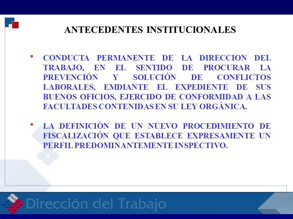 ANTECEDENTES INSTITUCIONALES CONDUCTA PERMANENTE DE LA DIRECCION DEL TRABAJO, EN EL SENTIDO DE PROCURAR LA PREVENCIÓN Y SOLUCIÓN DE CONFLICTOS LABORAL