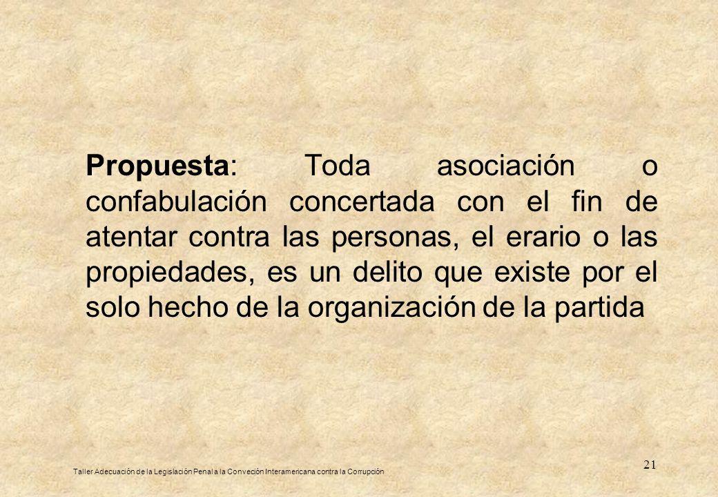 21 Propuesta: Toda asociación o confabulación concertada con el fin de atentar contra las personas, el erario o las propiedades, es un delito que exis
