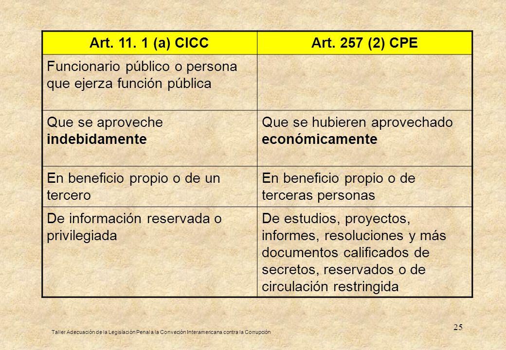 25 Art. 11. 1 (a) CICCArt. 257 (2) CPE Funcionario público o persona que ejerza función pública Que se aproveche indebidamente Que se hubieren aprovec
