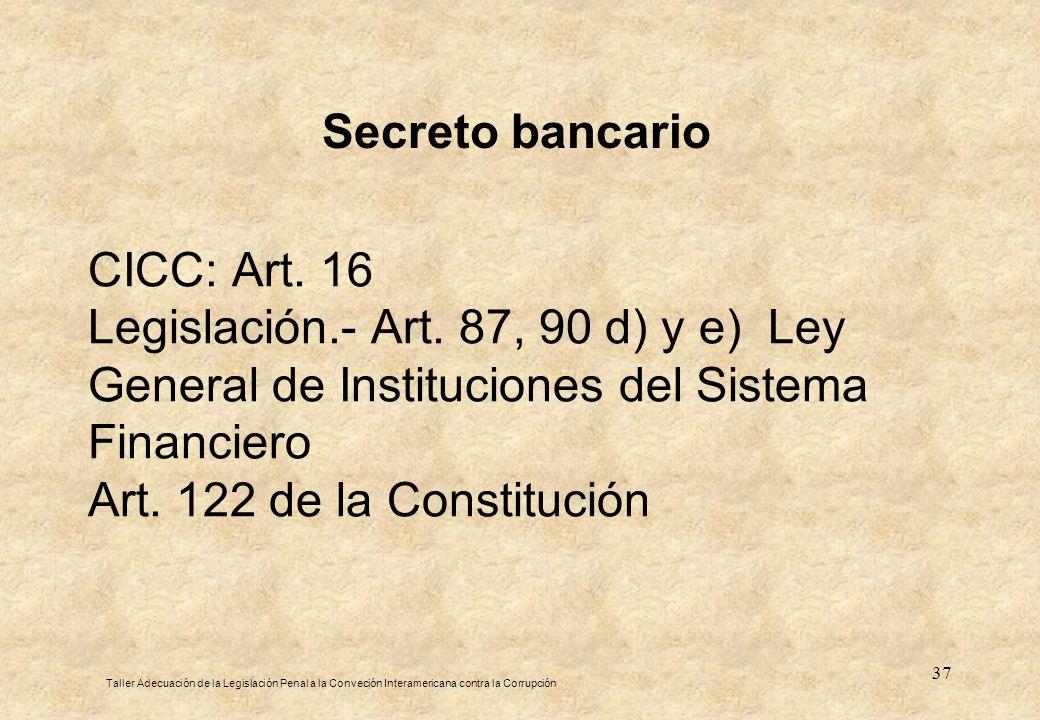 37 CICC: Art. 16 Legislación.- Art. 87, 90 d) y e) Ley General de Instituciones del Sistema Financiero Art. 122 de la Constitución Taller Adecuación d