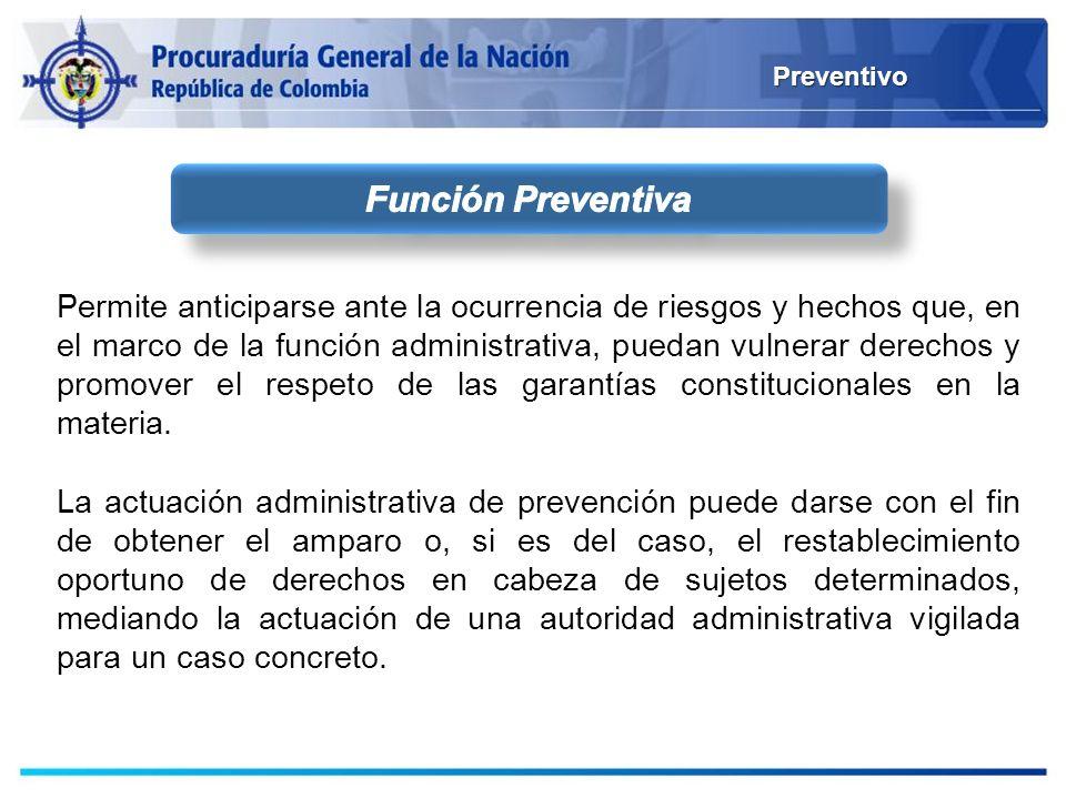 Preventivo Permite anticiparse ante la ocurrencia de riesgos y hechos que, en el marco de la función administrativa, puedan vulnerar derechos y promov