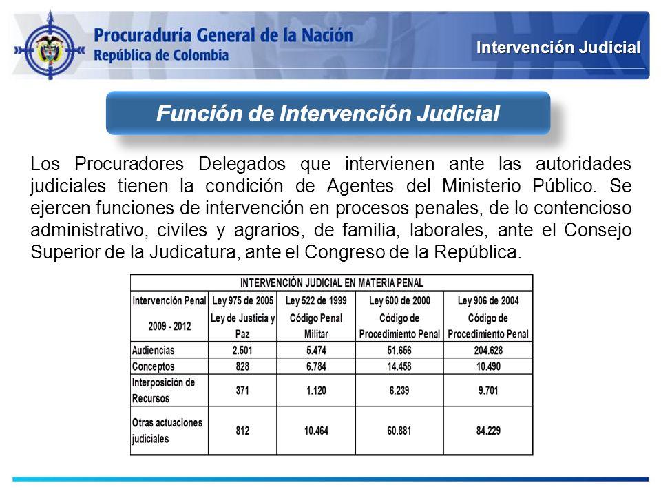 Intervención Judicial Los Procuradores Delegados que intervienen ante las autoridades judiciales tienen la condición de Agentes del Ministerio Público