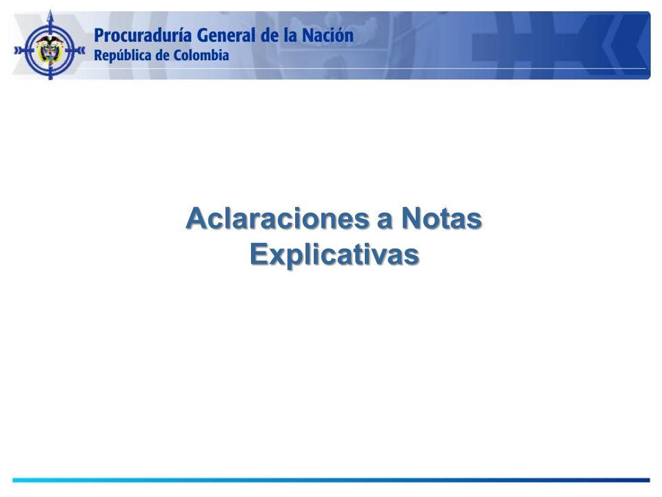 Aclaraciones a Notas Explicativas