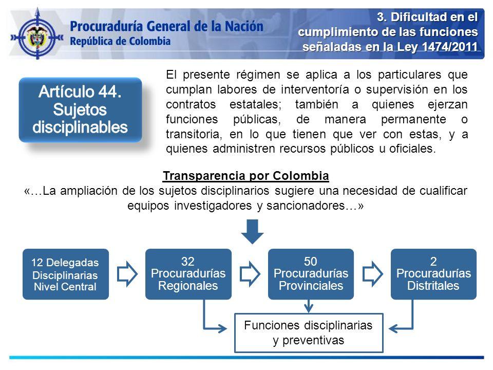 3. Dificultad en el cumplimiento de las funciones señaladas en la Ley 1474/2011 El presente régimen se aplica a los particulares que cumplan labores d