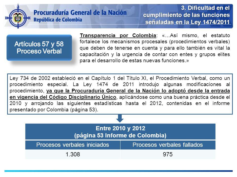 3. Dificultad en el cumplimiento de las funciones señaladas en la Ley 1474/2011 Transparencia por Colombia: «…Así mismo, el estatuto fortalece los mec