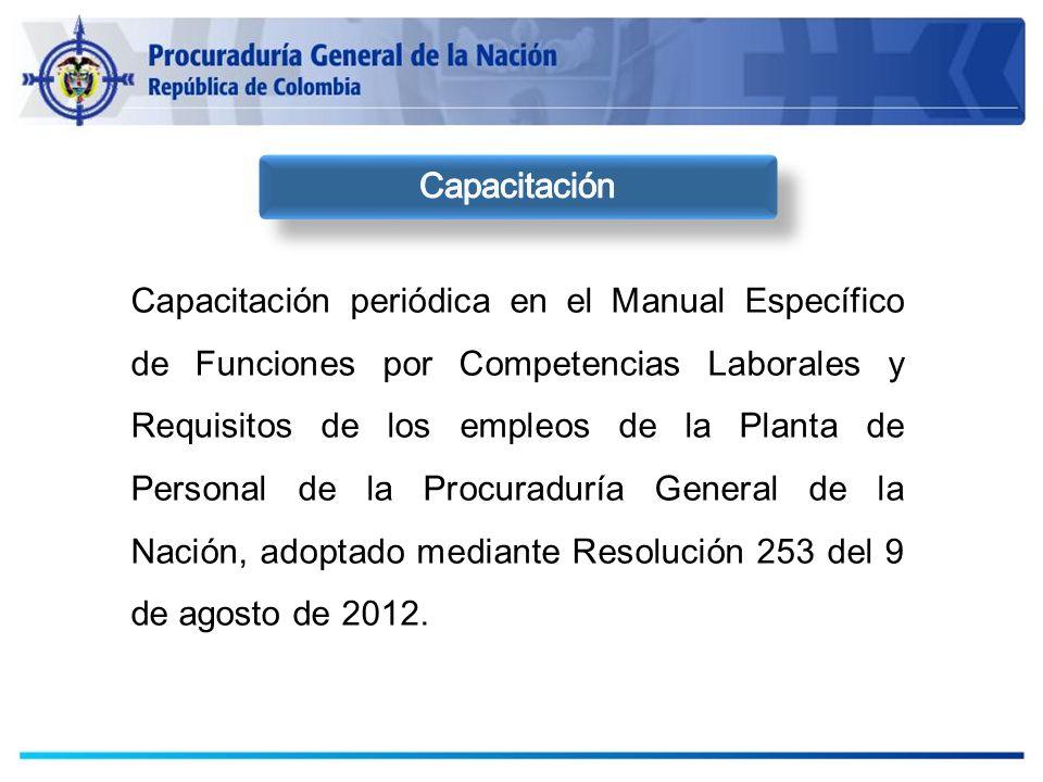Capacitación periódica en el Manual Específico de Funciones por Competencias Laborales y Requisitos de los empleos de la Planta de Personal de la Proc