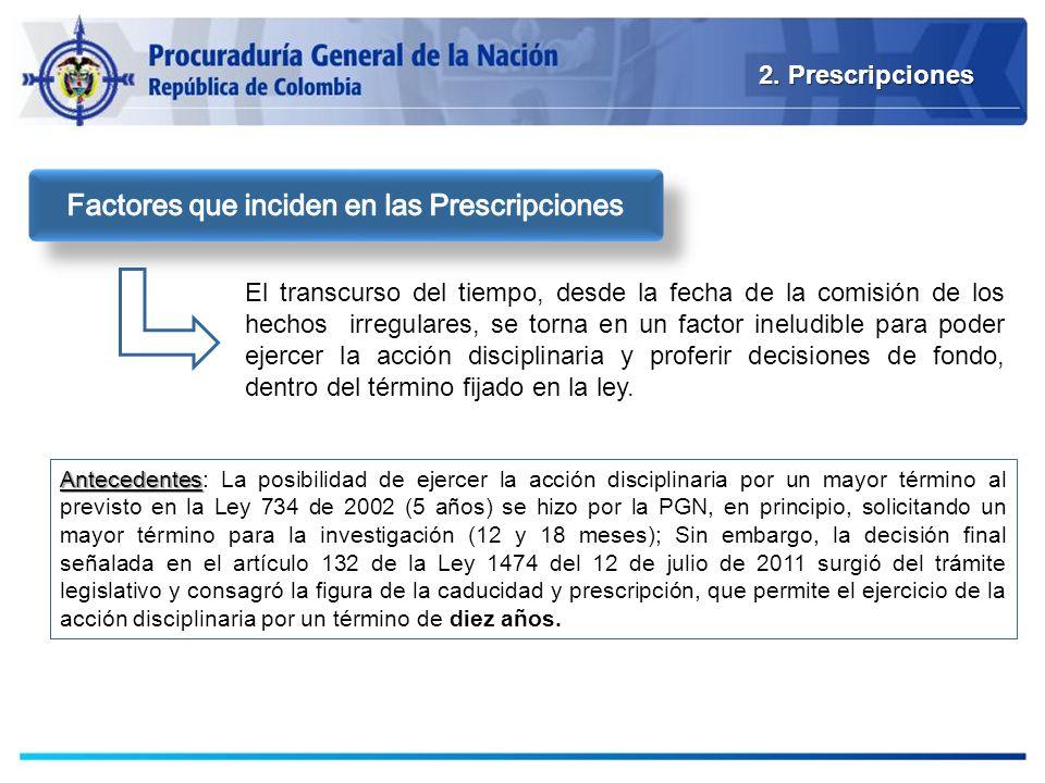 2. Prescripciones El transcurso del tiempo, desde la fecha de la comisión de los hechos irregulares, se torna en un factor ineludible para poder ejerc