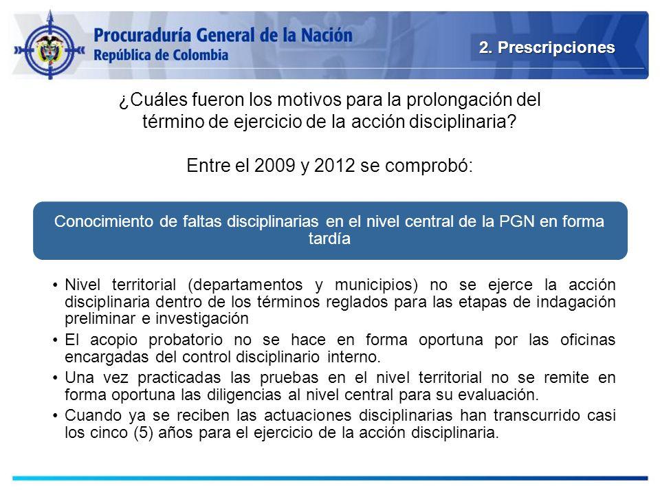 2. Prescripciones Conocimiento de faltas disciplinarias en el nivel central de la PGN en forma tardía Nivel territorial (departamentos y municipios) n