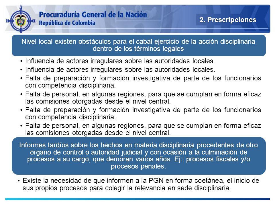 2. Prescripciones Nivel local existen obstáculos para el cabal ejercicio de la acción disciplinaria dentro de los términos legales Influencia de actor