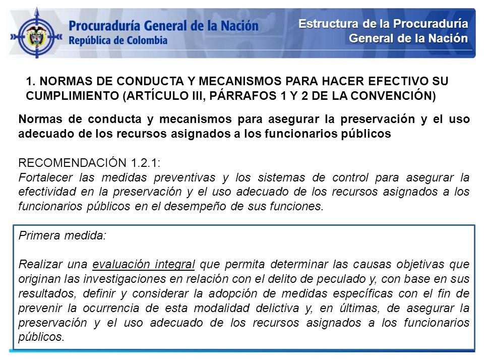 Estructura de la Procuraduría General de la Nación 1. NORMAS DE CONDUCTA Y MECANISMOS PARA HACER EFECTIVO SU CUMPLIMIENTO (ARTÍCULO III, PÁRRAFOS 1 Y