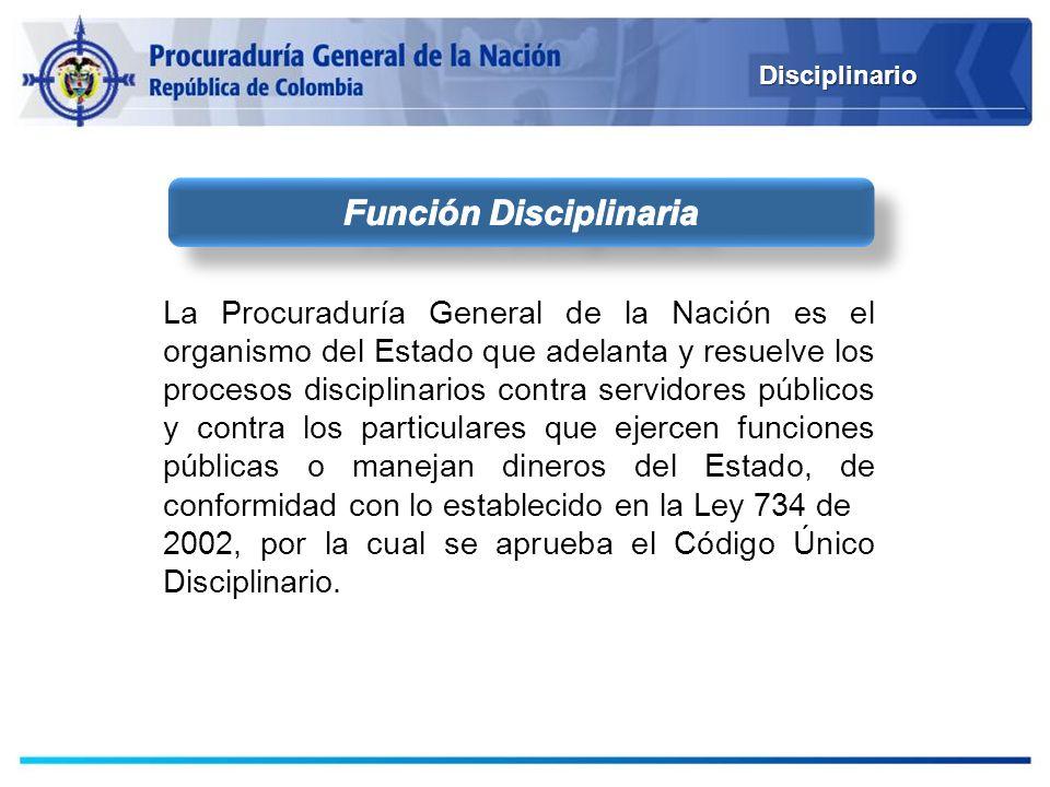 Disciplinario La Procuraduría General de la Nación es el organismo del Estado que adelanta y resuelve los procesos disciplinarios contra servidores pú