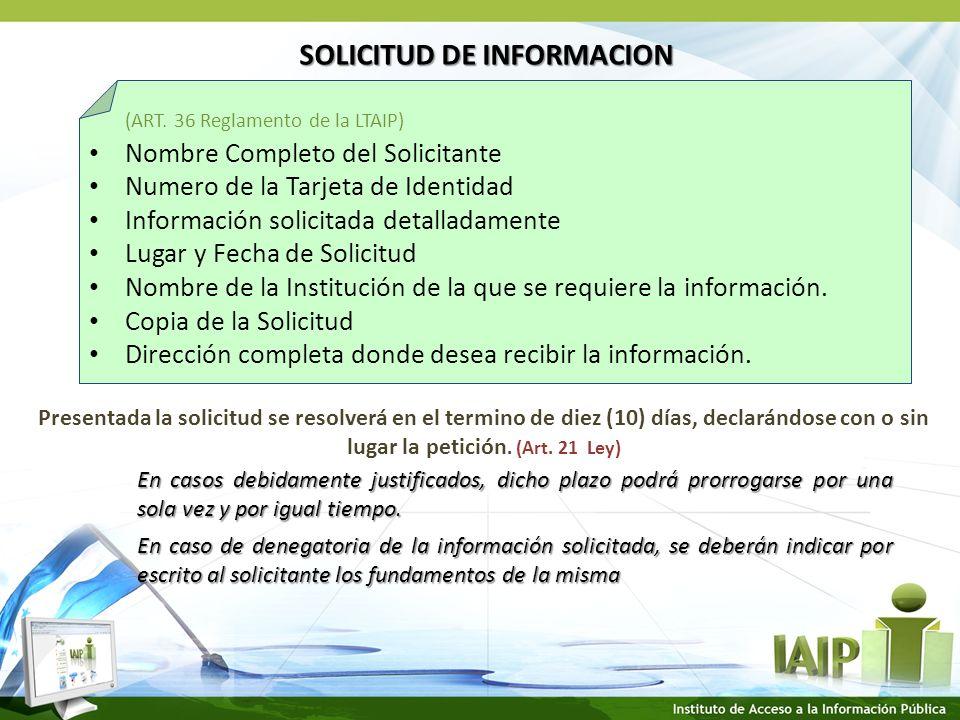SOLICITUD DE INFORMACION (ART.