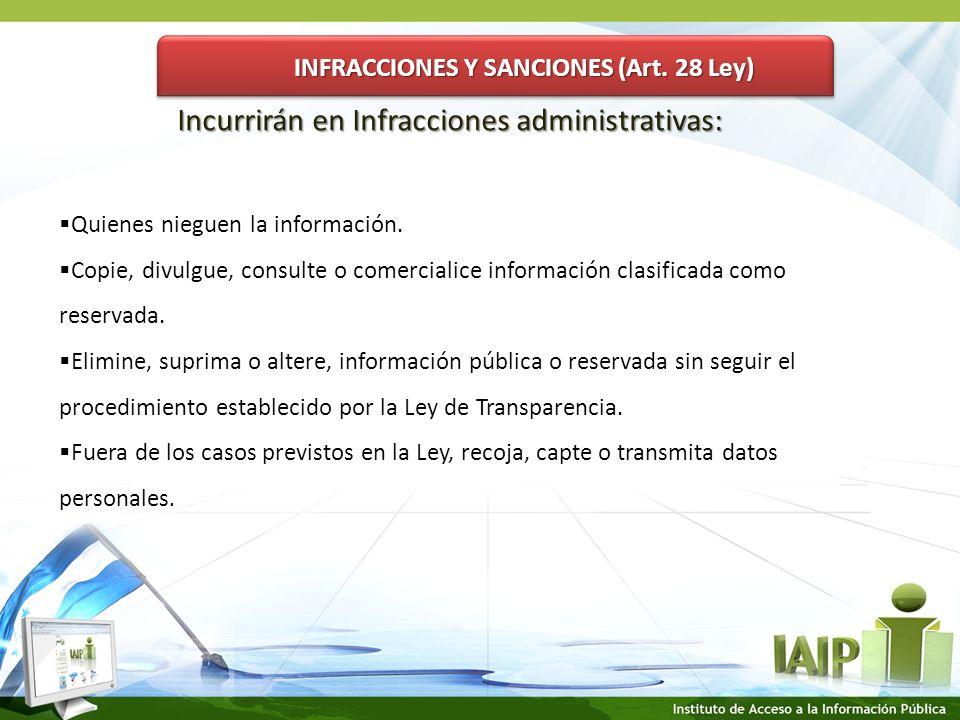 INFRACCIONES Y SANCIONES (Art.